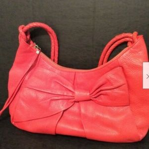 Elliott Lucca Purse Coral Red Leather Bow Detail